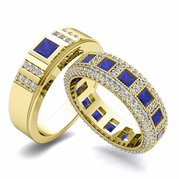 Matching Wedding Band in 18k Gold Princess Cut Sapphire and Diamond Ring