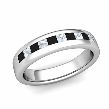 Channel Set Princess Cut Black and White Diamond Wedding Ring in 14k Gold, 4.5mm