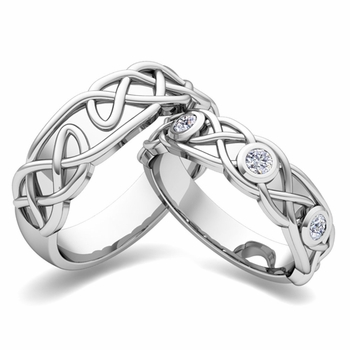 Matching Wedding Band in Platinum Celtic Knot Diamond Wedding Ring