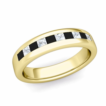 Channel Set Princess Cut Black and White Diamond Wedding Ring in 18k Gold, 4.5mm
