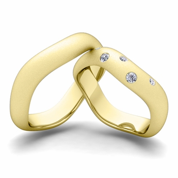 Matching Wedding Band in 18k Gold Curved Diamond Wedding Ring for Him and Her