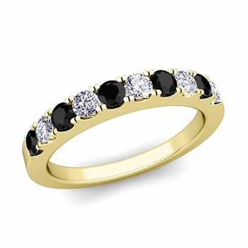 Brilliant Pave Black and White Diamond Wedding Ring Band in 18k Gold