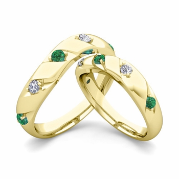 Matching Wedding Band in 18k Gold Curved Diamond and Emerald Wedding Rings