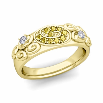 Swirl Diamond and Yellow Sapphire Wedding Ring Band in 18k Gold, 5.5mm