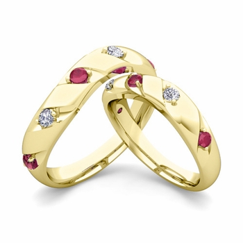 Matching Wedding Band in 18k Gold Curved Diamond and Ruby Wedding Rings