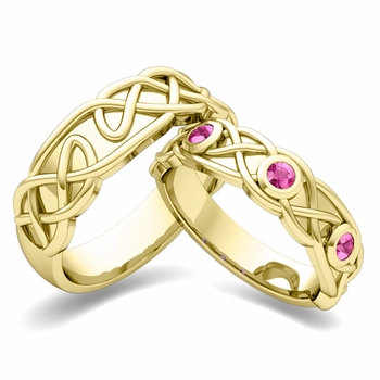 Matching Wedding Band in 18k Gold Celtic Knot Pink Sapphire Wedding Ring