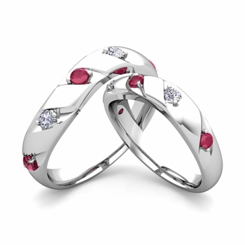 Matching Wedding Band in Platinum Curved Diamond and Ruby Wedding Rings