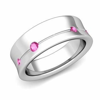 Flush Set Pink Sapphire Wedding Band Ring in 14k Gold, 5mm