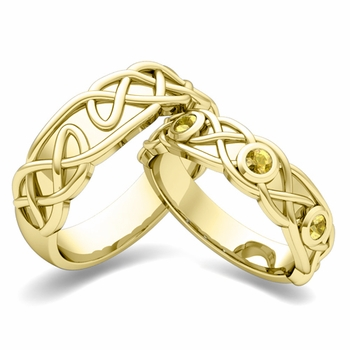Matching Wedding Band in 18k Gold Celtic Knot Yellow Sapphire Wedding Ring