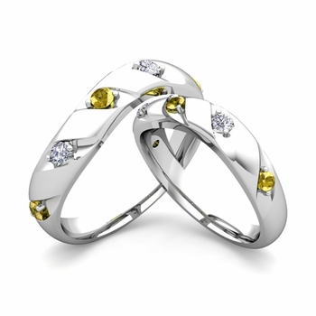 Matching Wedding Band in 14k Gold Curved Diamond Yellow Sapphire Wedding Rings