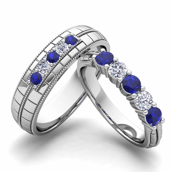 Matching Wedding Band in 14k Gold 5 Stone Diamond and Sapphire Wedding Ring