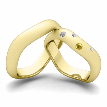 Matching Wedding Band in 18k Gold Curved Diamond and Yellow Sapphire Wedding Ring