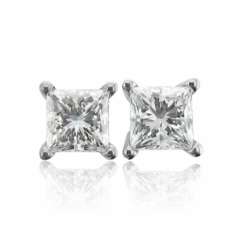 Princess Cut Diamond Earrings in 14k White Gold 4 Prong G, SI1, 0.75 cttw