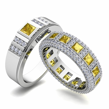 Matching Wedding Band in Platinum Princess Cut Yellow Sapphire and Diamond Ring