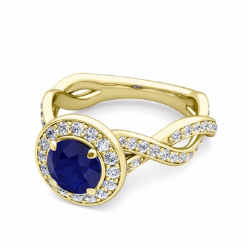 Infinity Diamond and Sapphire Halo Engagement Ring in 18k Gold, 7mm