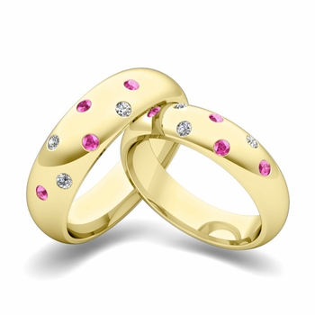 Matching Wedding Bands: Scattered Diamond and Pink Sapphire Wedding Ring in 18k Gold