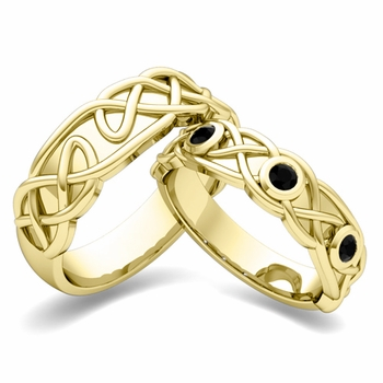 Matching Wedding Band in 18k Gold Celtic Knot Black Diamond Wedding Ring