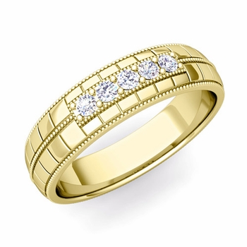 Mens Diamond Wedding Band in 18k Gold 5 Stone Ring, 5mm