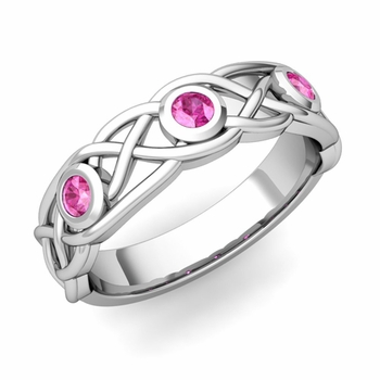 Celtic Knot Pink Sapphire Wedding Ring Band in 14k Gold, 5mm