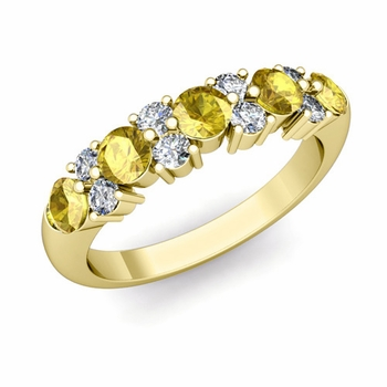 Garland Diamond and Yellow Sapphire Wedding Ring in 18k Gold