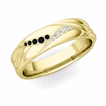 Wave Mens Wedding Band in 18k Gold Black and White Diamond Ring, 5.5mm