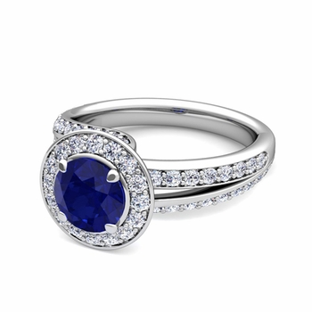 Wave Diamond and Sapphire Halo Engagement Ring in 14k Gold, 7mm