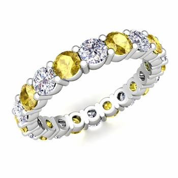 Diamond and Yellow Sapphire Eternity Ring Band in Platinum