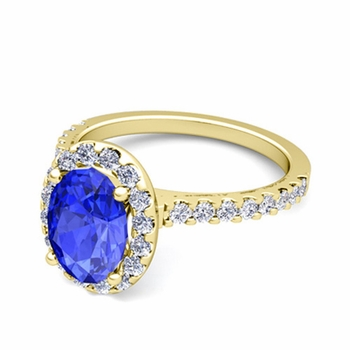 Petite Pave Set Diamond and Ceylon Sapphire Halo Engagement Ring in 18k Gold, 9x7mm