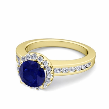 Diamond and Sapphire Halo Engagement Ring in 18k Gold Channel Set Ring, 7mm