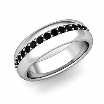 Pave Set Comfort Fit Black Diamond Wedding Band Ring in Platinum, 5.5mm