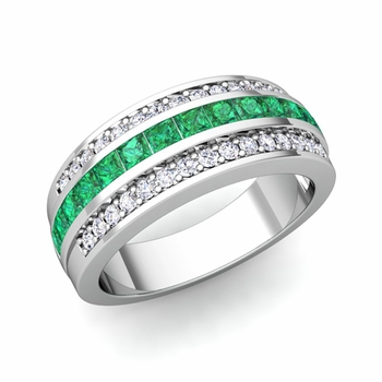 Princess Cut Emerald and Pave Diamond Wedding Ring in Platinum, 7mm