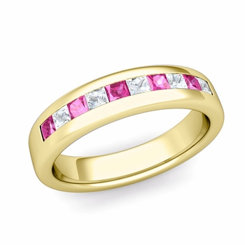 Channel Set Princess Cut Diamond and Pink Sapphire Wedding Ring in 18k Gold, 4.5mm