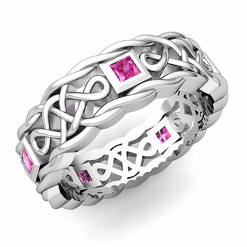 Princess Cut Pink Sapphire Ring in 14k Gold Celtic Knot Wedding Band, 7mm