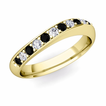 Curved Black and White Diamond Wedding Ring in 18k Gold, 4mm