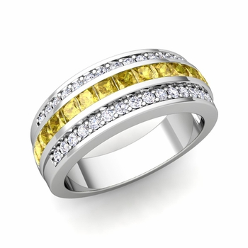 Princess Cut Yellow Sapphire and Pave Diamond Wedding Ring in 14k Gold, 7mm