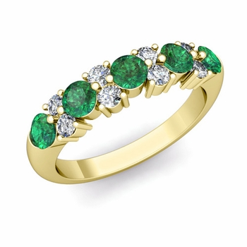 Garland Diamond and Emerald Wedding Ring in 18k Gold