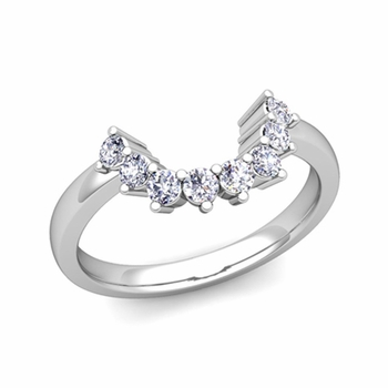 Brilliant Diamond Wedding Ring in 14k Gold Curved Band