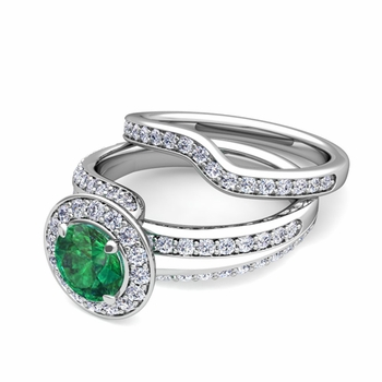 Wave Diamond and Emerald Engagement Ring Bridal Set in Platinum, 7mm