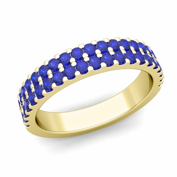 Two Row Diamond and Sapphire Wedding Ring Band in 18k Gold
