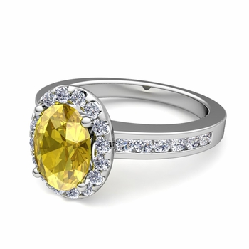 Diamond and Yellow Sapphire Halo Engagement Ring in Platinum Channel Set Ring, 7x5mm