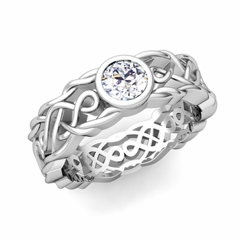 Solitaire Diamond Ring in Platinum Celtic Knot Wedding Band, 6.5mm