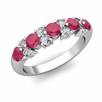Garland Diamond and Ruby Wedding Ring in 14k Gold