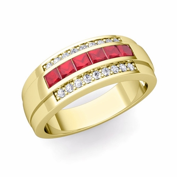 Princess Cut Ruby and Diamond Mens Wedding Band in 18k Gold, 8mm