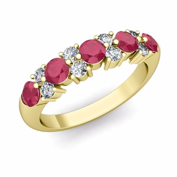 Garland Diamond and Ruby Wedding Ring in 18k Gold