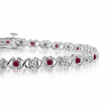 XOXO Ruby and Diamond Bracelet in 14k White Gold Bracelet, 1.18 cttw, 7 inches