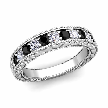 Vintage Inspired Black and White Diamond Wedding Ring Band in Platinum