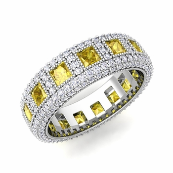 Pave Diamond and Princess Cut Yellow Sapphire Eternity Band in Platinum, 6mm