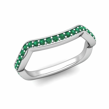 Unique Curved Emerald Wedding Ring Band in Platinum