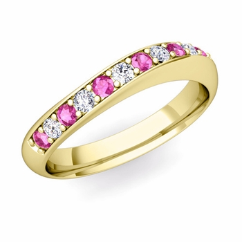 Curved Diamond and Pink Sapphire Wedding Ring in 18k Gold, 4mm