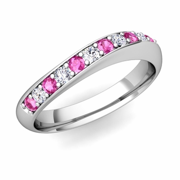 Curved Diamond and Pink Sapphire Wedding Ring in Platinum, 4mm